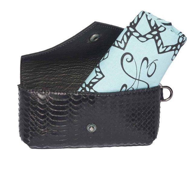 Black leather pouch with flap