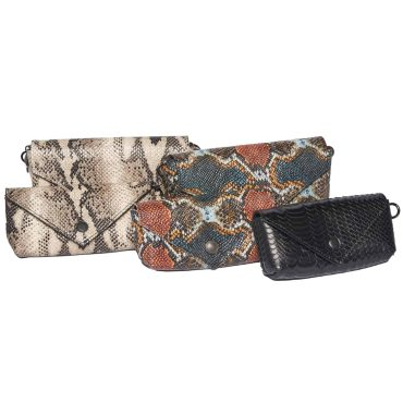 Crossbody snakeskin with chain strap and snap