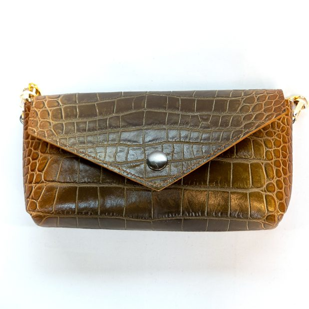 Croc Embossed Multicolored Leather Crossbody