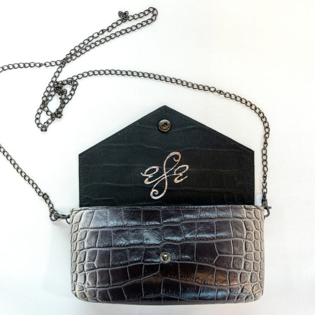 Croc Embossed Grey Ombre Leather Crossbody