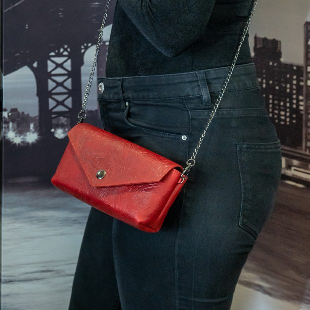 Red Flower Embossed Leather Crossbody