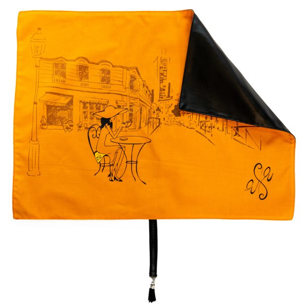 Seat Scarf with Café Scene – Persimmon