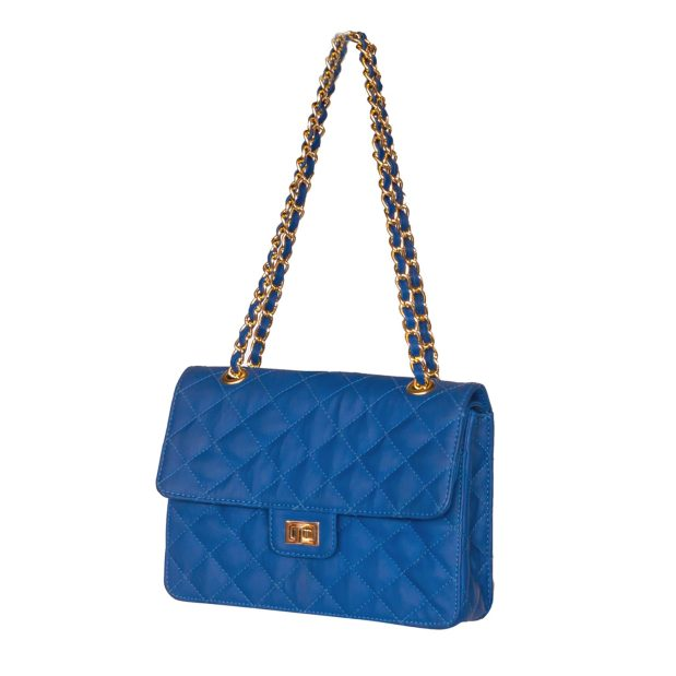 Antimicrobial Blue Quilted Shoulder Bag