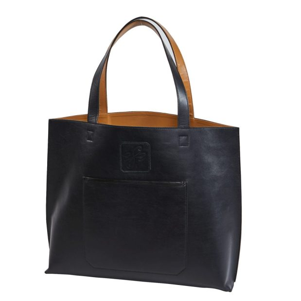 Leather Oversized Tote with Camel Color leather Lining