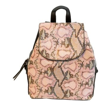 Snakeskin Front Faux Leather Backpack