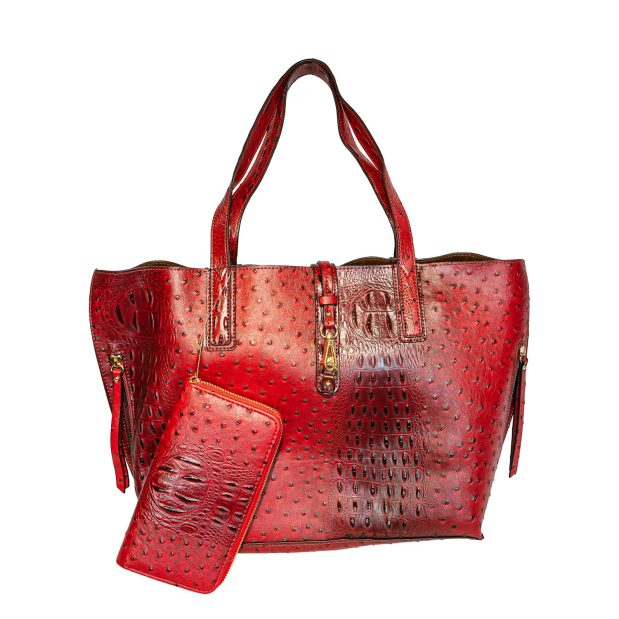 Currant Red Tote With Shoulder Strap
