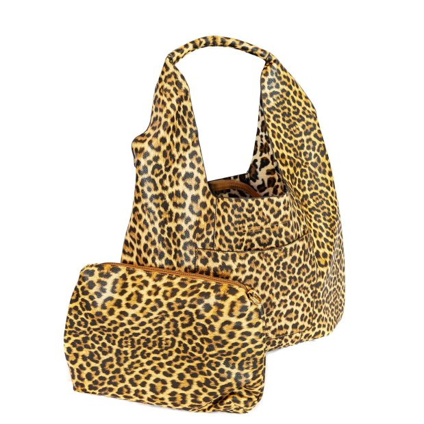Large Leopard Print HOBO Bag With Attached Pouch