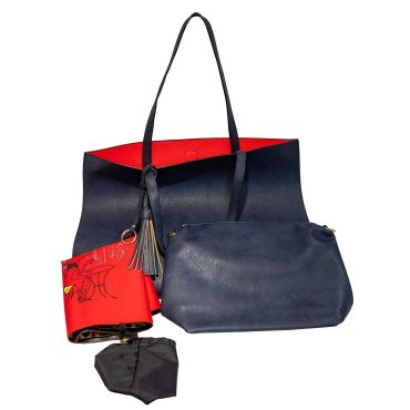 Large Navy Tote With Attached Pouch