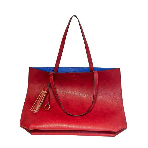Large Red Tote With Attached Pouch