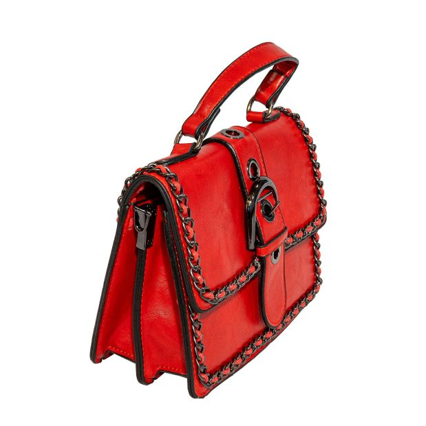 Red Chain Trimmed Evening / Crossbody Bag