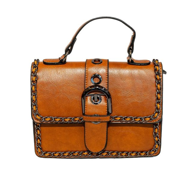 Brown Chain Trimmed Evening / Crossbody Bag