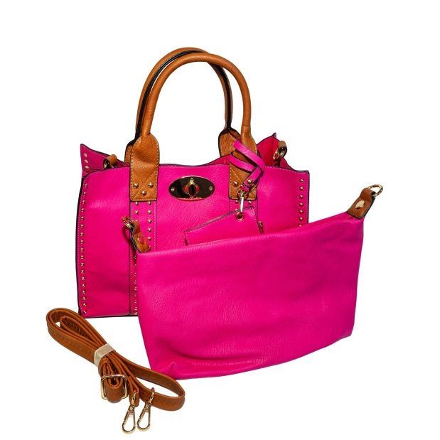 Pink Square Tote Top Handle & Strap With Attached Inner Removable Pouch