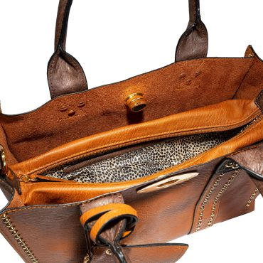 Brown Square Tote Top Handle & Strap With Attached Inner Removable Pouch