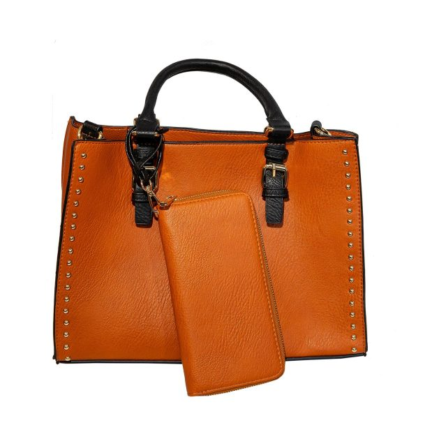 Brown Square Tote with Top Handle & Strap Attached Wallet And Pouch